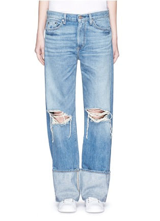 Detail View - Click To Enlarge - Simon Miller - 'Arapo' distressed light wash wide leg jeans
