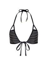 'Serra' stripe cutout keyhole wrap bikini top
