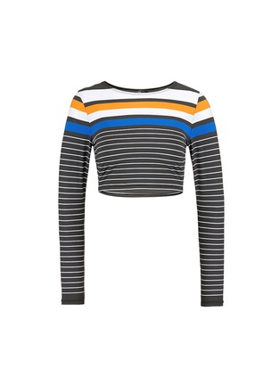 Main View - Click To Enlarge - Vitamin A - 'Cannes' variegated stripe cropped rashguard