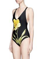 花卉图案深V领连体泳衣
