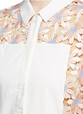 Chictopia - Poplin trim floral lace appliqué shirt
