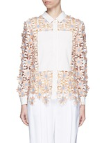 Poplin trim floral lace appliqué shirt