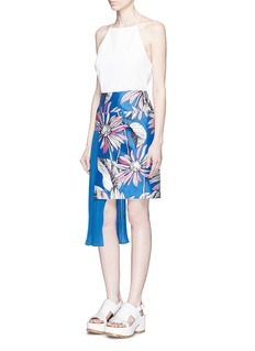 CHICTOPIA Asymmetric accordion pleat floral print skirt