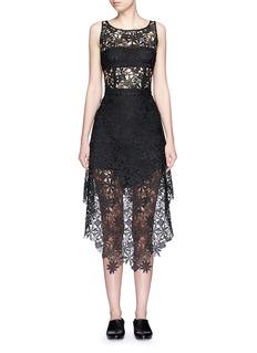 HELEN LEEAsymmetric hem guipure lace skirt