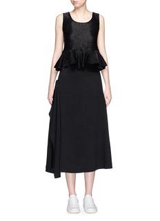 HELEN LEEAsymmetric drape sateen midi skirt