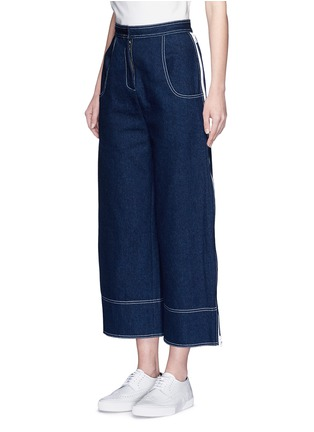 Front View - Click To Enlarge - Shushu/Tong - Cropped wide leg jeans