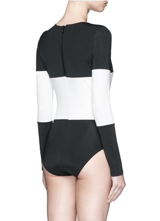 Back View - Click To Enlarge - Solid & Striped - 'The Margot' stripe long sleeve swimsuit