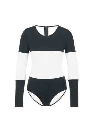 Main View - Click To Enlarge - Solid & Striped - 'The Margot' stripe long sleeve swimsuit