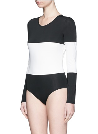Figure View - Click To Enlarge - Solid & Striped - 'The Margot' stripe long sleeve swimsuit