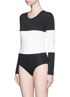 SOLID & STRIPED'The Margot' stripe long sleeve swimsuit