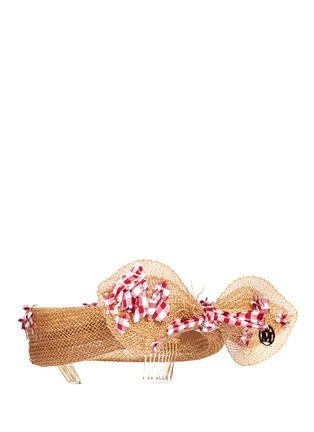 Figure View - Click To Enlarge - Maison Michel - 'Franziska' check appliqué bow straw headband