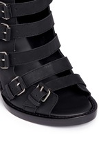 Buckle leather wedge sandal boots