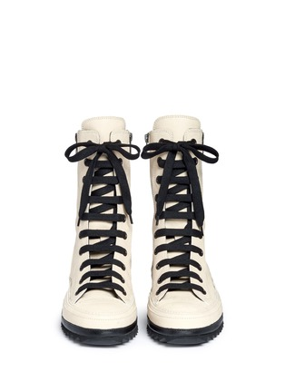 Front View - Click To Enlarge - ANN DEMEULEMEESTER SHOES - 'Anthem' leather lace-up sneakers