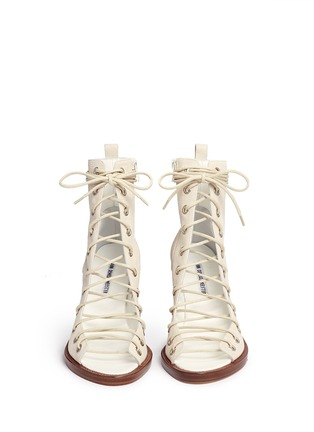 Front View - Click To Enlarge - ANN DEMEULEMEESTER SHOES - 'Anthem' leather lace-up sandal boots