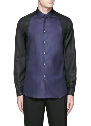Main View - Click To Enlarge - Alexander McQueen - Contrast sleeve Oxford shirt