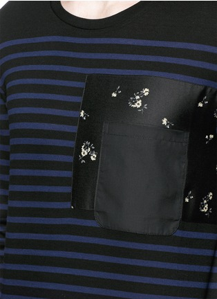 Detail View - Click To Enlarge - Alexander McQueen - Floral print pocket sailor stripe T-shirt