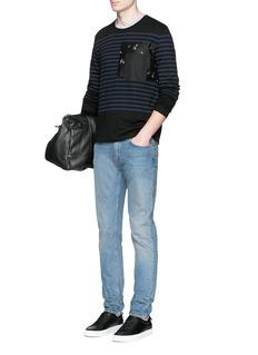 Alexander McQueenFloral print pocket sailor stripe T-shirt