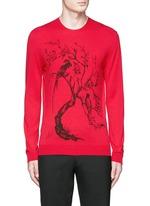 Tree print wool-silk sweater