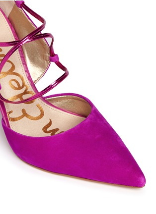 Detail View - Click To Enlarge - Sam Edelman - 'Dayna' suede lace-up pumps