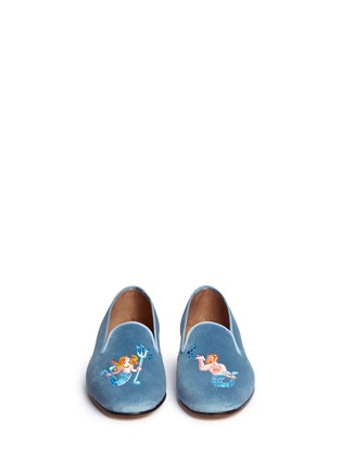 Front View - Click To Enlarge - Stubbs & Wootton - Mermaid embroidery velvet slip-ons