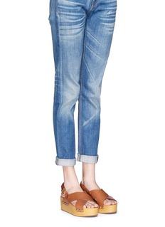 SAM EDELMAN'Bentlee' leather wooden clog platform sandals