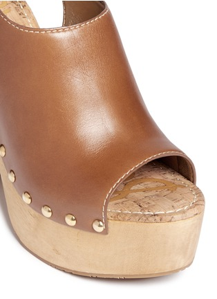 Detail View - Click To Enlarge - Sam Edelman - 'Marley' leather slingback wooden clog sandals