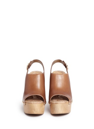 Front View - Click To Enlarge - Sam Edelman - 'Marley' leather slingback wooden clog sandals