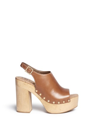 Main View - Click To Enlarge - Sam Edelman - 'Marley' leather slingback wooden clog sandals