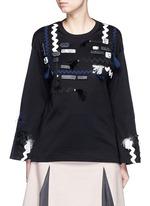 Mix appliqué flare sleeve jersey T-shirt