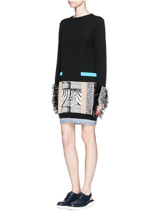 Figure View - Click To Enlarge - TOGA ARCHIVES - Fringe mix cotton intarsia knit sweater dress
