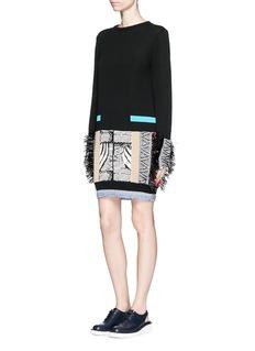 TOGA ARCHIVESFringe mix cotton intarsia knit sweater dress