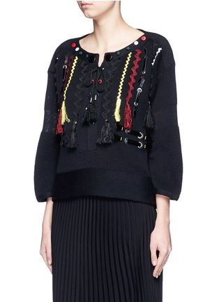 Front View - Click To Enlarge - TOGA ARCHIVES - Faux leather wavy embroidery sweater