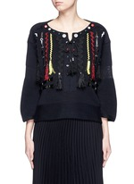 Faux leather wavy embroidery sweater