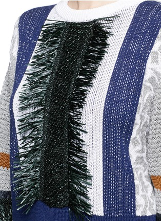 Detail View - Click To Enlarge - TOGA ARCHIVES - Fringe mix cotton intarsia knit sweater