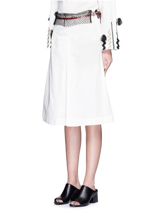 Front View - Click To Enlarge - TOGA ARCHIVES - Mesh waist cotton taffeta culottes