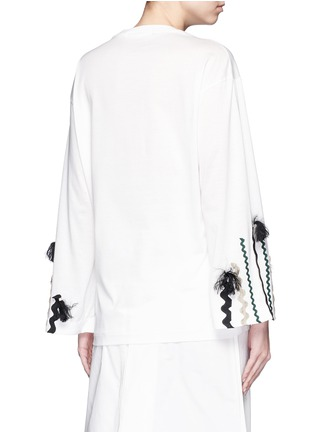 Back View - Click To Enlarge - TOGA ARCHIVES - Squiggle ribbon appliqué flare sleeve T-shirt
