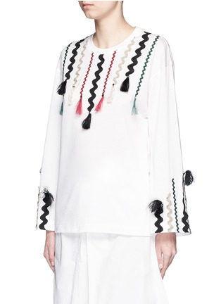 Front View - Click To Enlarge - TOGA ARCHIVES - Squiggle ribbon appliqué flare sleeve T-shirt