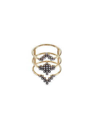 Main View - Click To Enlarge - Yannis Sergakis Adornments - 'Charnières' diamond 18k gold triple band ring