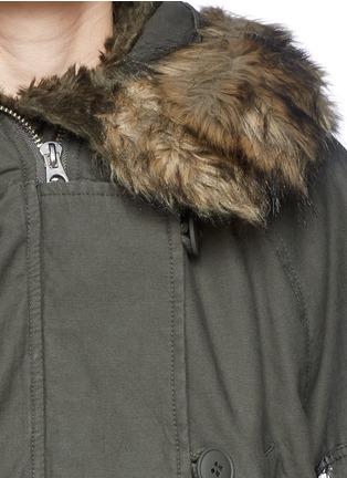 Detail View - Click To Enlarge - McQ Alexander McQueen - Detachable faux fur trim cropped parka