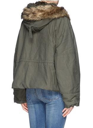 Back View - Click To Enlarge - McQ Alexander McQueen - Detachable faux fur trim cropped parka