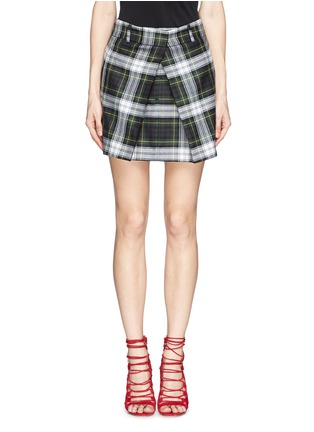 Main View - Click To Enlarge - McQ Alexander McQueen - Inverted pleat front tartan check wool skirt