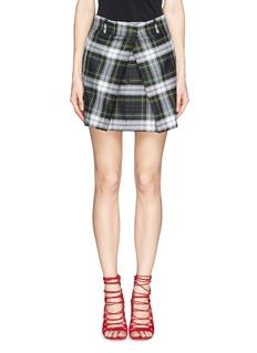 MCQ ALEXANDER MCQUEENInverted pleat front tartan check wool skirt