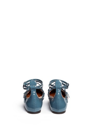 Back View - Click To Enlarge - Valentino - 'Love Latch' caged patent leather flats