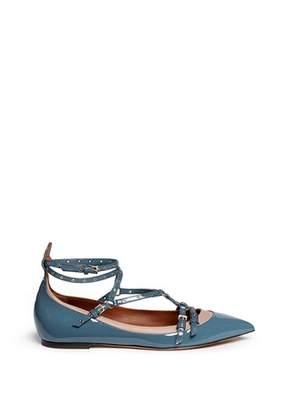 Main View - Click To Enlarge - Valentino - 'Love Latch' caged patent leather flats