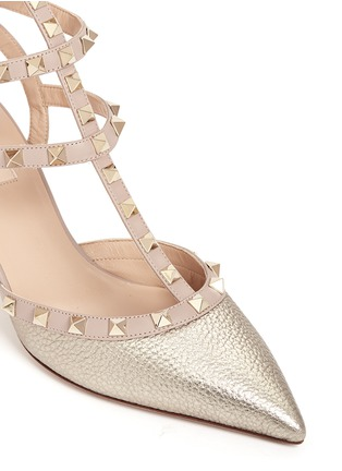 Detail View - Click To Enlarge - Valentino - 'Rockstud' caged metallic leather pumps