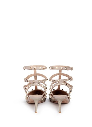 Back View - Click To Enlarge - Valentino - 'Rockstud' caged metallic leather pumps