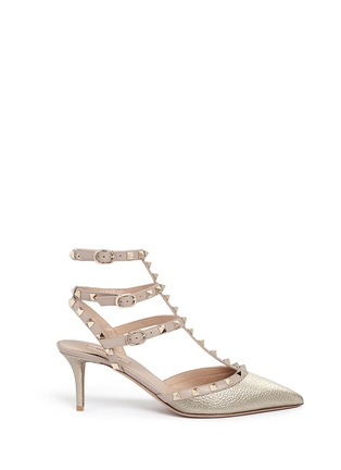 Main View - Click To Enlarge - Valentino - 'Rockstud' caged metallic leather pumps