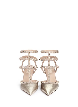 Figure View - Click To Enlarge - Valentino - 'Rockstud' caged metallic leather pumps