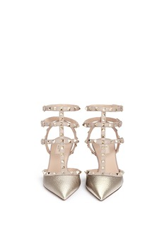 VALENTINO 'Rockstud' caged metallic leather pumps