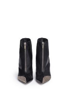 RENÉ CAOVILLAStrass pavé satin trim leather boots